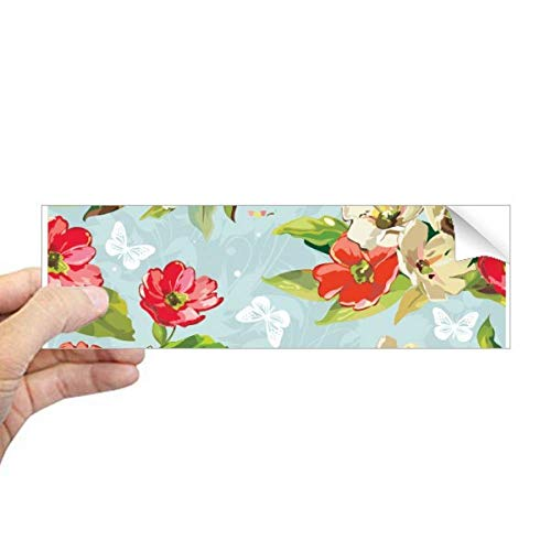 DIYthinker Elegante Perzik Bloesem Bloemen Tekening Planten Rechthoek Bumper Sticker Notebook Window Decal