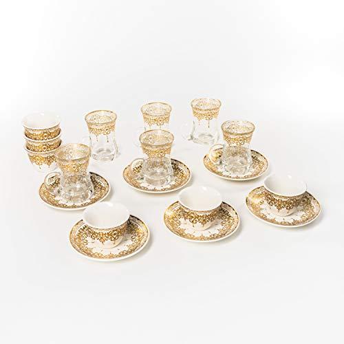 Flanacom Orientalisches Teeservice 18-teilig in schöner Geschenkbox - Türkisches Tee-Set aus Porzellan & Glas - 6 Tee-Gläser, 6 Tee-Tassen, 6 Untertassen - mit goldenen Verzierungen (Gold)