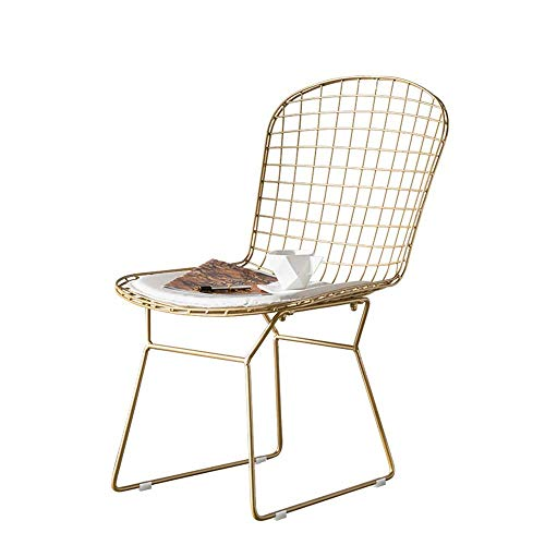 Daily Equipment Dining Chair Dining Chairs Washable PU Cushion Seat Chair Metal Frame Ideal for Home and Office Use Chairs (Color : Gold Size : 42x47x84cm)