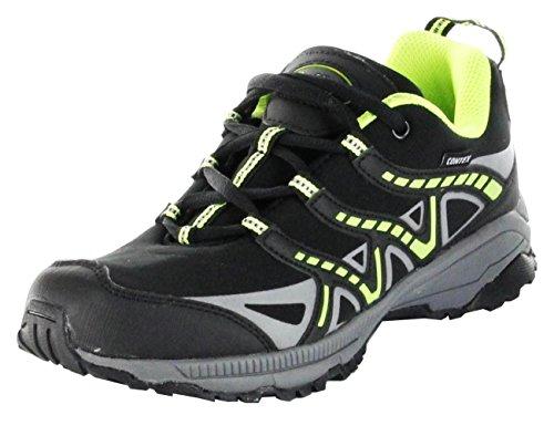 ConWay Outdoor-Wander-Trekking-Schuhe schwarz Softshell TEX Herren Damen Jackson, Farbe:schwarz, Größe:36 EU