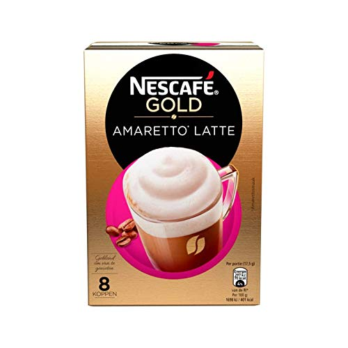 Instant Coffee Packets | Nescafe Latte Amaretto | 8 Sticks Per Pack 140gr/4.94oz