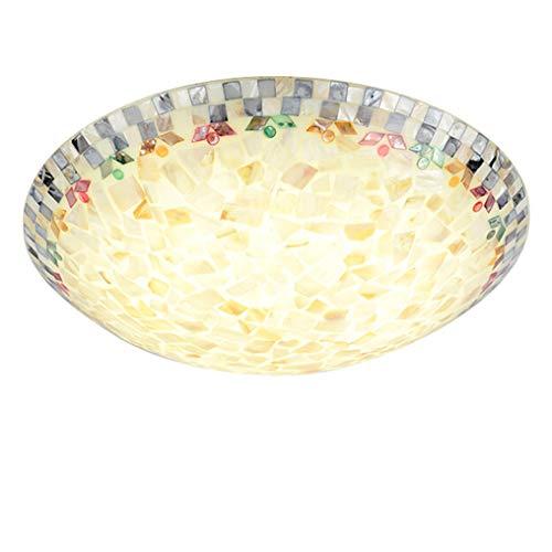 XMYX Tiffany Deckenleuchte mit Handgefertigte Muschel Dekorative Glas Lampenschirm Kreativ Deckenlampe für Wohnzimmer Schlafzimmer Esszimmer Kücheninsel Flur Loft,Ø50cm