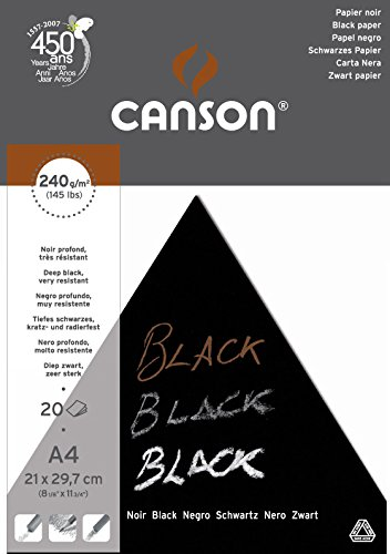 Bloc Encolado, A4, 20 Hojas, Canson Black, Grano Fino 240g Negro