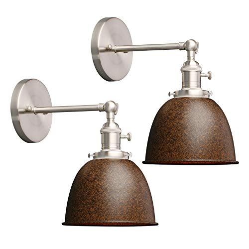 Phansthy 2 Stücke Deckenhalbkreis mit Metall-Schirm Wandbeleuchtung Wandleuchten Vintage Industrie Loft-Wandlampen Antik Deko Design Wandbeleuchtung Küchenwandleuchte(Nachahmung Rost)