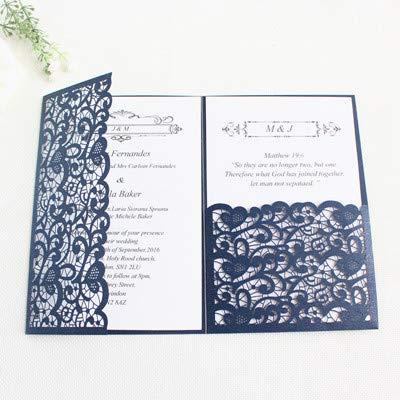 Dodom-Hochzeitseinladungslaser-Ausschnittgoldmarineblau-Burgunder-Dreifachtasche fertigen Geschäft Einladungsfeiertags-Grußkarten, Marineblau, Laser-Schnittkarte besonders an