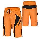 Culotte Ciclismo Hombre,Transpirable Cómodo Pantalon Corto Montaña Hombre,Verano Culotes Ciclismo Hombre, para Correr Deportes al Aire Libre Pantalon Mountain Bike(Size:XXXL,Color:Naranja)