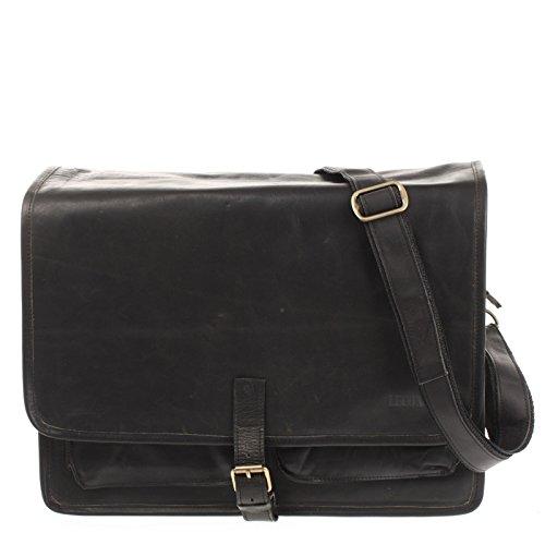 LECONI Businesstasche Unisex DIN A4 Messenger Bag Vintage-Look echt Leder Aktentasche große Collegetasche Damen & Herren Ledertasche 40x30x15cm schwarz LE3014-wax