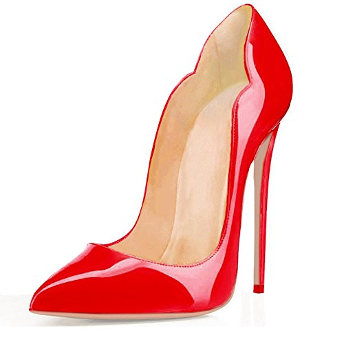 EDEFS Damenschuhe Mode High Heels Spitze Zehe Stilettos Pumps Cut Out Rot EU40