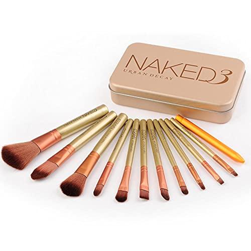 SXPSYWY Cepillo de maquillaje 12 Conjunto de cepillos de maquillaje Herramientas de belleza-dorado