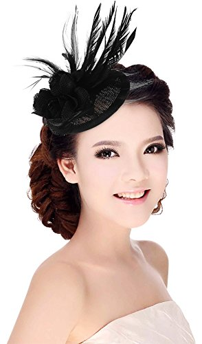 La Vogue Chapeau de Soirée Mariage Cérémonie Chapeau Bibi Accessoire Noir