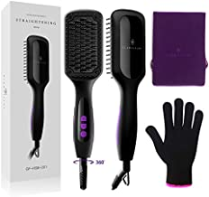 Ionic Hair Straightener Brush Upgrade 2.0,GLAMFIELDS Electrical Heated Hair Straightening with Faster Heating, MCH Ceramic Technology, Auto Temperature Lock, Anti Scald, Heat Resistant Glove(Black-01)