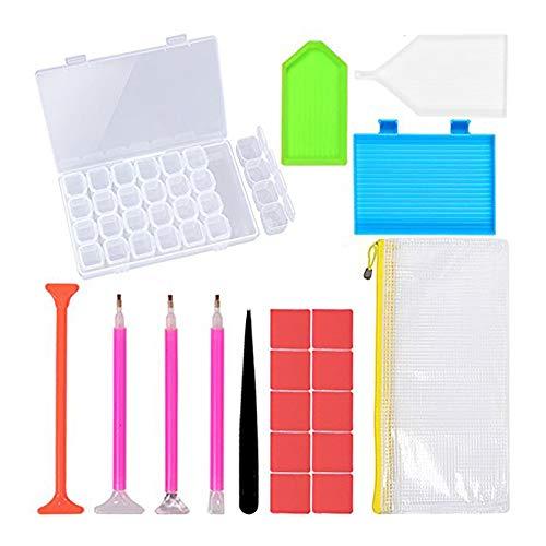 Leeofty DIY Conjunto de Ferramentas de Pintura Diamante Pen Glue Bandeja De Plástico Definir Bordado Ponto Cruz Acessórios De Costura 20 Peças