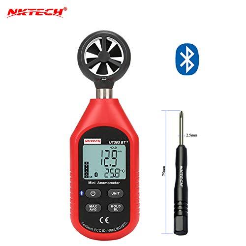 Nktech UT363BT Bluetooth digitale anemometro velocità del vento temperatura Meter max/min dati meteo collezione per esterni Windsurfing Sailing surfing pesca con cacciavite tl-1