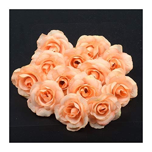 CQHUI Artificial Silk Rose Flower Head For Wedding Christmas Party Decoration DIY Wreath Scrapbook Craft Fake Flowers 50pcs 4cm (Color : Orange)
