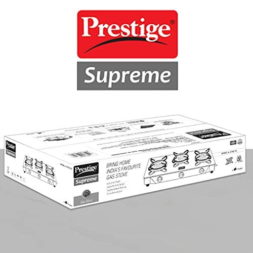 Prestige Supreme 3 Burner Glass Top Gas Stove, Black, Manual Ingnition