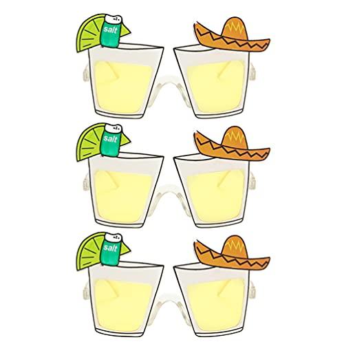 STOBOK 3 Pares de Gafas de Sol de Fiesta Novedosas Gafas de Cóctel en Forma de Cristal para Fiesta de Verano Gafas para Fiesta de Playa Mexicano Suministros