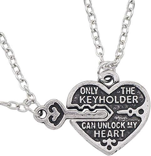 NC83 Collar de pareja de moda Vintage colgante de corazones clave tallado solo llavero puede desbloquear mi corazón collares para mujeres hombres Colar