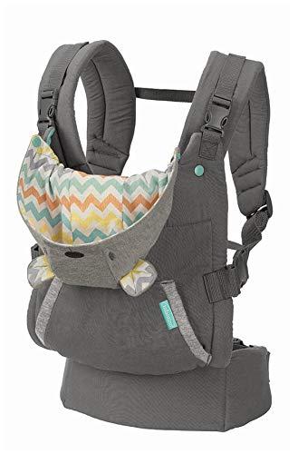Infantino Cuddle Up Ergnomische Babytrage mit Kapuze, Baby Carrier, grau