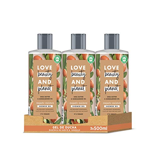 Love Beauty and Planet Gel de Ducha para Piel nutrida, Manteca de Karité y Sándalo Vegano - Pack de 3 x 500 ml (Total: 1500 ml)