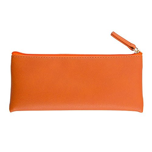 XYBAGS PU Leather Small Pencil Case Pen Bag with Zipper, PU Leather Makeup Pouch Makeup Case Cosmetic Pouch (Orange)