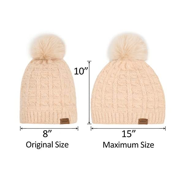 ViGrace Womens Winter Hat Slouchy Warm Beanie Chenille Hats Detachable Faux Fur Pom Pom Baggy Cap with Fleece Lined for Women