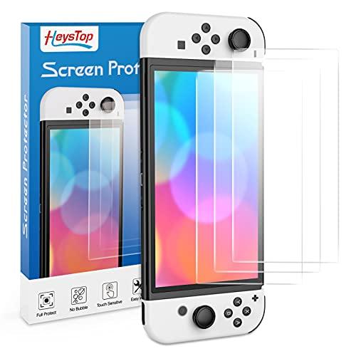 HEYSTOP Schutzfolie für Nintendo Switch OLED 3 Stück, Panzerglas für Nintendo Switch OLED HD Clarity,Anti Kratzer, Anti Blase, Glasfolie 0.25 mm, Displayschutzfolie für Nintendo Switch OLED Zubehör
