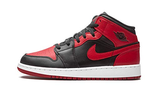 Nike Air Jordan 1 Mid (GS), Scarpe da Basket, Black/Gym Red-White, 36 EU