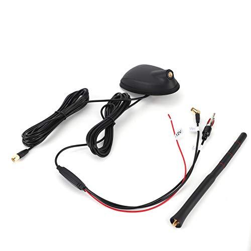 GAESHOW Antena de Coche, Antena Dab + GPS + FM para Coche, Montaje en Techo Superior Amplificado Activo, Impermeable, Universal a Prueba de Polvo