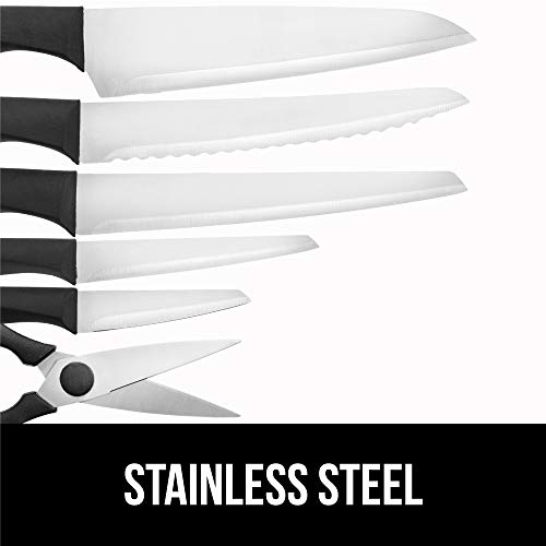 Gorilla Grip Original Premium Knife Block 7 Piece Set, Stainless Steel Blades, Includes Durable Kitchen Knives, Scissors and Stylish Block, Cutlery for Home Chef and Professional Cutting Needs, Black