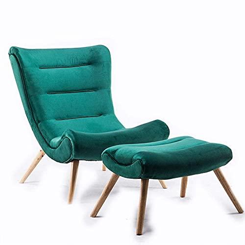 Fauteuil Luie fauteuil Houten fauteuil W/voor woonkamer, slaapkamer, club Opklapbare verstelbare bank Fauteuil (kleur: blauw, maat: vrij formaat)
