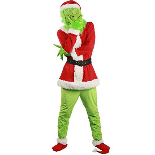 Qiujiam Erwachsenen Kind Grinch Maske und Handschuhe Kostüm Sets Grinch Toys Weihnachten Cosplay Outfit Full Set Latex Maske + Weihnachtsmütze + Outfit + Gürtel + Grüne Handschuhe