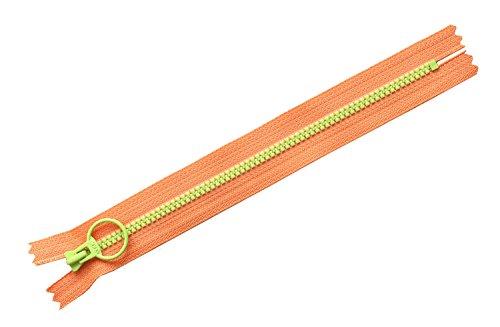 日本紐釦貿易 NBK コンビファスナー オレンジ×ライトグリーン 20cm 5本入 3VSC20-288