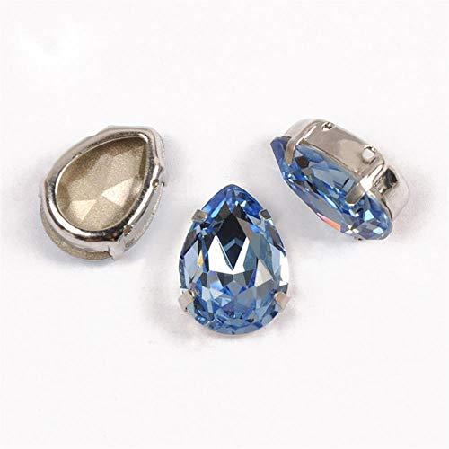 PENVEAT 4320 Gota de Costura Piedras y Cristales Punta Trasera Vidrio Strass Needlework lágrima Cosido Diamantes de imitación para Bricolaje, Zafiro Claro, 20 x 30 mm, 3 Unidades