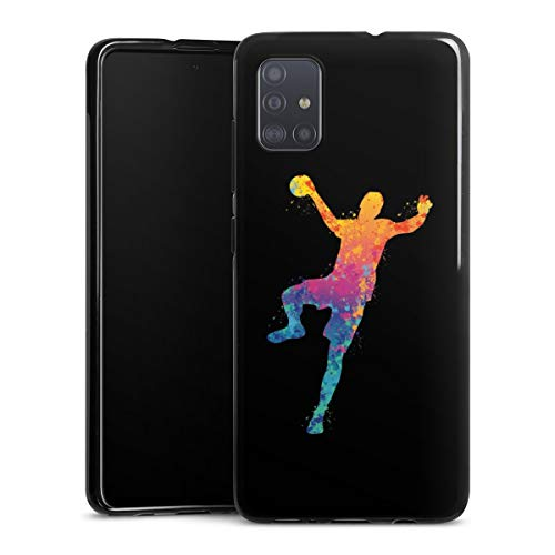 DeinDesign Silikon Hülle kompatibel mit Samsung Galaxy A51 Case schwarz Handyhülle Handball Farbklecks Ball