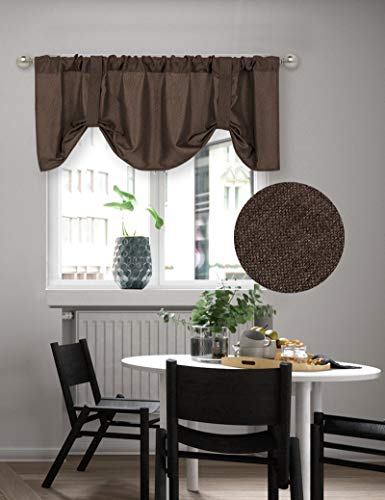 Home Queen Tie Up Shade Curtain Valance Window Treatment for Living Room, Adjustable Balloon Rod Pocket Drape Valance, Set of 1, 54 X 18 Inch, Brown