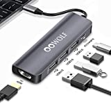 OOWOLF HUB USB, 5 En 1 Type C Ultrafino Adaptador HDMI 4K, 3 Puertos 5 Gbps USB 3.0, 100W PD 3.0 para MacBook 2019/2020, MacBook Pro/Air, iPad/Air/Mini/Pro, Nintendo Switch, ChromeBook
