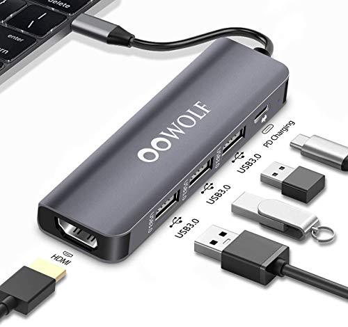 OOWOLF HUB USB, 5 En 1 Type C Ultrafino Adaptador HDMI 4K, 3 Puertos 5 Gbps USB 3.0, 100W PD 3.0 para MacBook 2019/2020, MacBook Pro / Air , iPad /Air/Mini /Pro, Nintendo Switch, ChromeBook