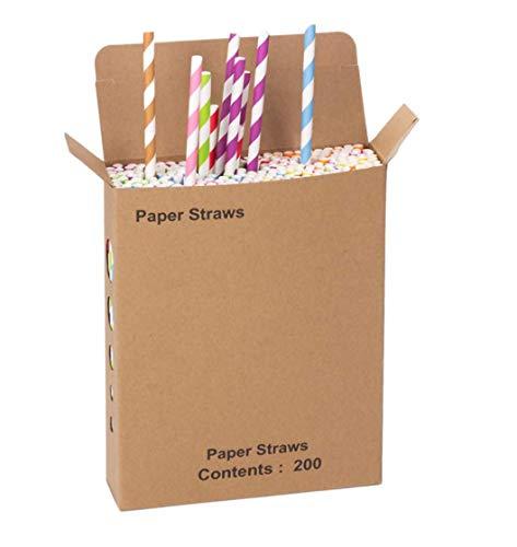 Tauras cannucce di carta biodegradabili da 200 pezzi - 8 colori vivaci - succhi di frutta freschi, frullati, cake pops, caffè freddo, accessori per feste e decorazioni fai-da-te