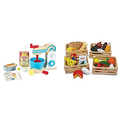 Melissa & Doug Wooden Make-a-Cake Mixer Set (Kitchen Toy, Best for 3, 4, 5 Year Olds and Up) & Food Groups - Wooden Play Food, The Original (Pretend Play, Kids Toy Best for 3, 4, 5, and 6 Year Olds)