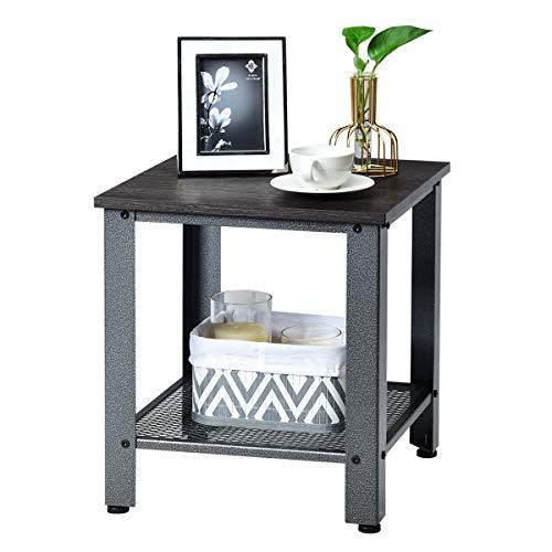 COSTWAY Beistelltisch im Industriedesign, Nachttisch mit Metallgestell, Sofatisch mit Gitterablage, für Wohnzimmer Schlafzimmer (Dunkelbraun und grau)