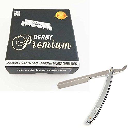 Sedef Chrom Rasiermesser und 100 Derby Premium Rasierklingen im Rasier-Set für Einsteiger und Profis