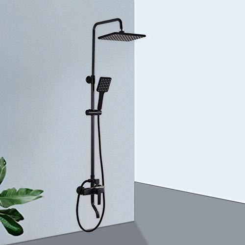 Set de ducha de temperatura constante negro presurizado Top Spray cuadrado ducha de cobre grifo de la ducha sistema de ducha 3 modos hogar suministro de agua conjunto de ducha
