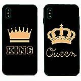 Cuitan 2X Covers Custodie per iPhone X/iPhone 10 5.8-inch (Nero+Oro), King&Queen Corona AntiGraffio...