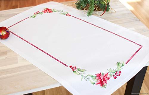 Lucas Kit Punto de Cruz Mantel de Navidad FM0010217: Mantel Blanca con Borde YA orlado, Hilo Anchor (22Colores),...