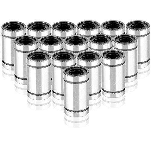 Mengger Linear Ball Bearing 16pcs LM8UU 8mm Linear Motion Ball Bearing slide Bushing for 8mm Linear Shaft Rod 3D Printer CNC Parts