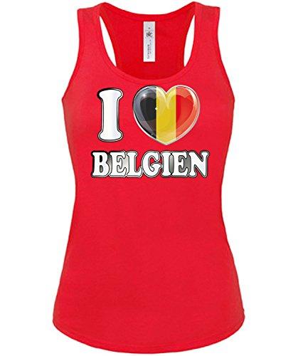 Belgien Belgium Belgique Fan t Shirt Artikel 4780 Fuss Ball Tank Top für Mädchen EM 2020 WM 2022 Trikot Look Frauen Damen Flagge Jersey Football S