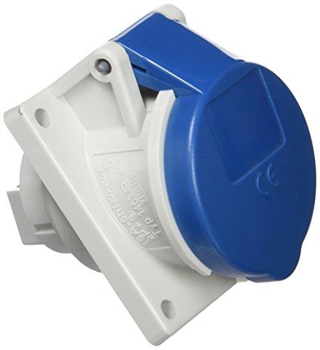 Mennekes 101100276 halve schakelaar, CEE, stopcontacten, 230 V, 50-60 Hz, 16 A, 3-polig, IP 44, 64 mm x 73,5 mm, frame, blauw