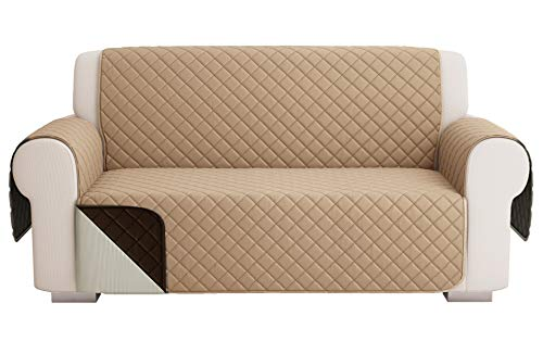 Fundas para Sofa Acolchado, Funda De Sofas 2 Plazas (120 CM), Cubre Sofa Reversible Bicolor, Beige Oscuro / Marrón
