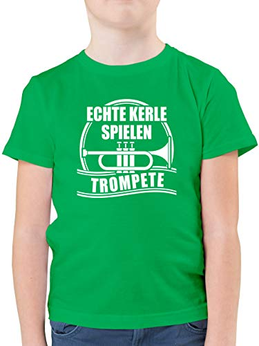 Sprüche Kind - Echte Kerle Spielen Trompete - 128 (7/8 Jahre) - Grün - echte Kerle Spielen trompete - F130K - Kinder Tshirts und T-Shirt für Jungen