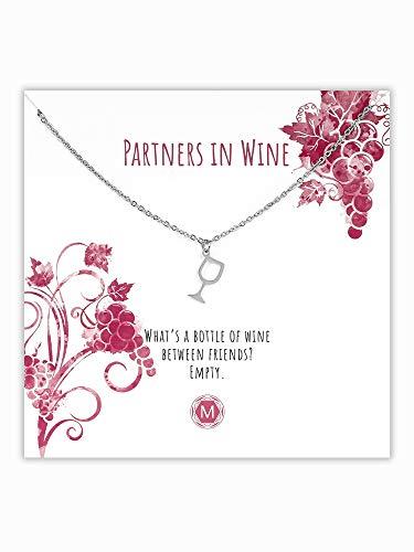 MURANDUM Geschenk Kette mit Weinglas   Wine Glass Necklace   Damenhalskette mit Weinglas Anhänger inklusive Geschenkkarte   Länge verstellbar (Silber)  Geschenk Kette